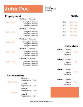 Degree student resume format